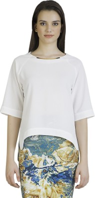 Vivante by VSA Casual 3/4 Sleeve Solid Women's White Top