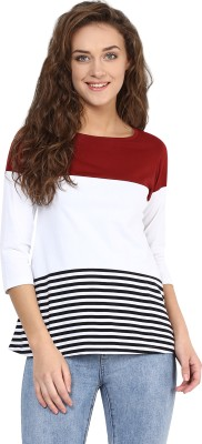 Miss Chase Casual 3/4 Sleeve Striped Women's Multicolor Top