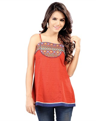 SFDS Casual, Party Sleeveless Solid Women's Orange Top