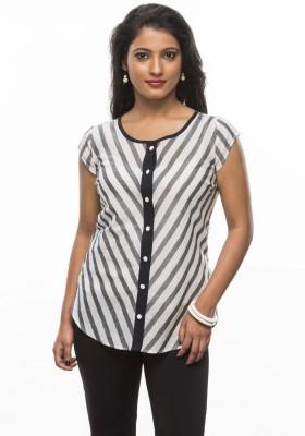 Moda Vastra Casual Cape Sleeve Striped Women's Black, Grey Top