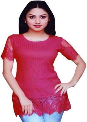 Kalras Casual Short Sleeve Solid Women's Red Top