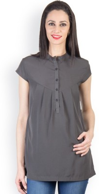 Tops and Tunics Formal Short Sleeve Solid Women's Grey Top