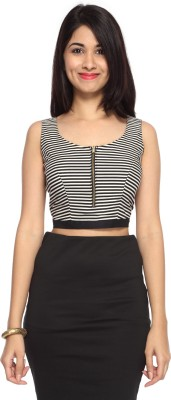 Francisca & Dominique Party Sleeveless Striped Women's Black, White Top