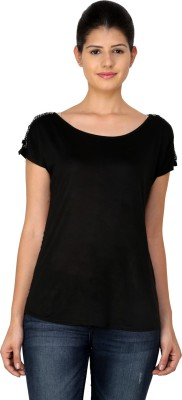 StyleToss Casual Short Sleeve Printed Women's Black Top