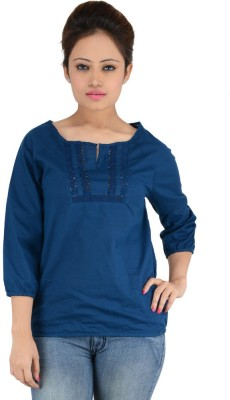 Eimoie Casual 3/4 Sleeve Solid Women's Dark Blue Top