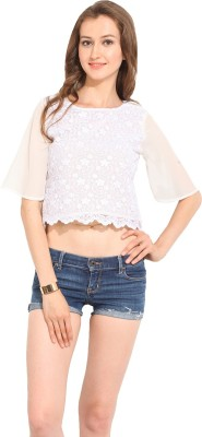 Albely Casual Short Sleeve Embroidered Women's Beige Top