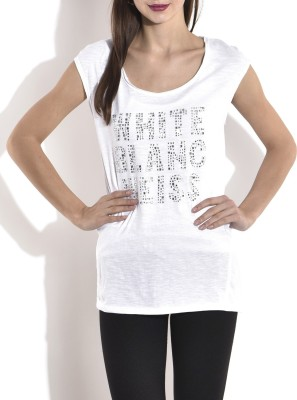 London Off Casual Cap sleeve Embellished Women's White Top