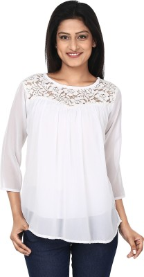 Anam Export Casual 3/4 Sleeve Solid Women's White Top