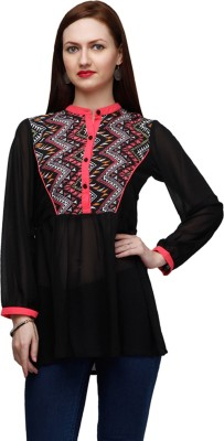 Eavan Casual Full Sleeve Chevron Women Black Top at flipkart