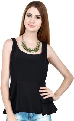 LA ATTIRE Casual Sleeveless Solid Women's Black Top