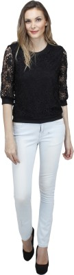 Pab Jules Casual 3/4 Sleeve Solid Women's Black Top