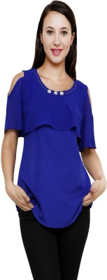 Rumara Casual Short Sleeve Embellished Women's Blue Top
