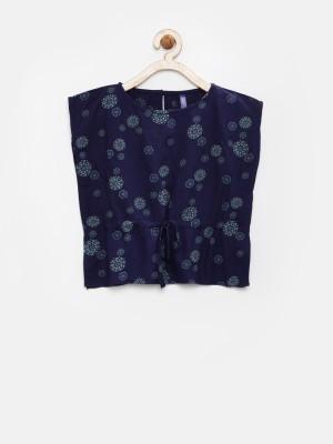 Yk Casual Sleeveless Printed Girl's Dark Blue Top
