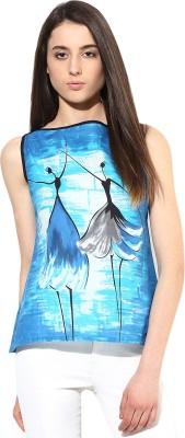 JaipurKurti Casual Sleeveless Graphic Print Women's Blue Top
