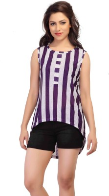 HERCOMPLETEWOMAN Casual Sleeveless Striped Women's Purple, White Top