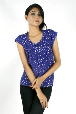 Zolake Casual Printed Women's Blue Top