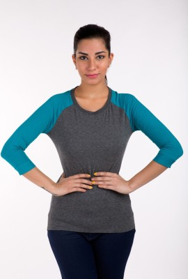 De Moza Casual 3/4 Sleeve Solid Women's Grey, Blue Top