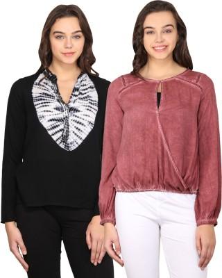 Nordic Bazaar Casual Full Sleeve Solid, Printed Women's Black, Red Top