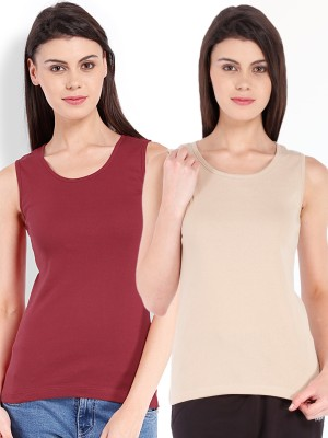 Beyouty Casual Sleeveless Solid Women's Beige, Red Top