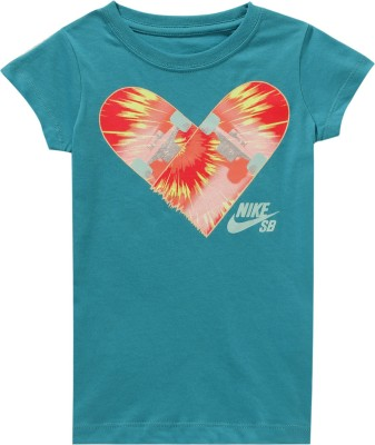 Nike Kids Casual Short Sleeve Graphic Print Girl's Blue Top