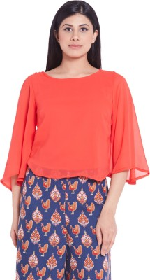 Globus Casual 3/4 Sleeve Solid Women's Orange Top