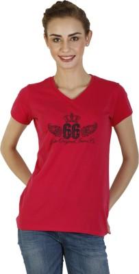 Duke Stardust Casual Short Sleeve Printed Women's Red Top