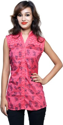 Kiez Casual Sleeveless Printed Women's Orange Top