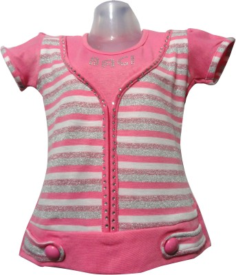 Threads Casual Short Sleeve Striped Girl's Pink Top