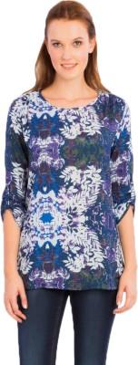 Vivante by VSA Casual 3/4 Sleeve Printed Women's Blue Top