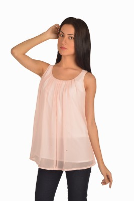 Bombay High Casual Sleeveless Solid Women's Pink Top