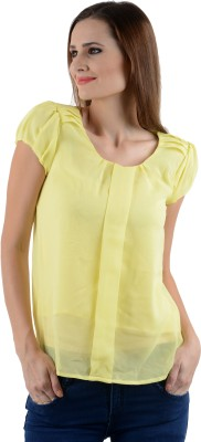 Firemark Casual Short Sleeve Solid Women's Yellow Top