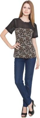 Eva De Moda Casual Short Sleeve Animal Print Women's Multicolor Top