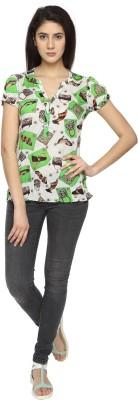Texco Garments Casual Short Sleeve Printed Women's Green Top