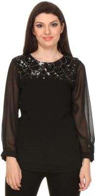 Oyshi Casual Full Sleeve Embellished Women's Black Top