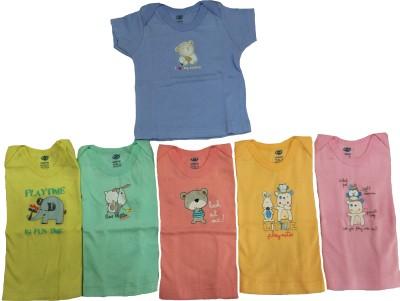 Zero Casual Short Sleeve Printed Baby Girl's Multicolor Top