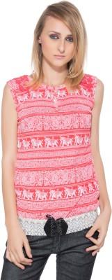 Membooz Casual Short Sleeve Printed Women's Pink Top