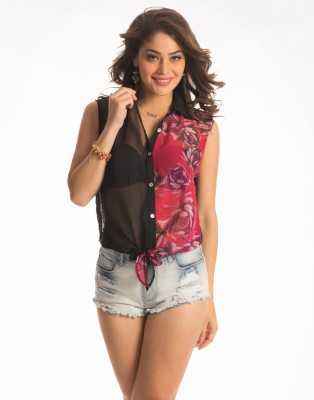 PrettySecrets Casual Sleeveless Solid, Printed Women's Multicolor Top at flipkart