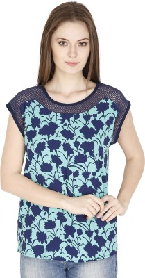 FASHMODE Casual Short Sleeve Floral Print Women's Light Blue Top