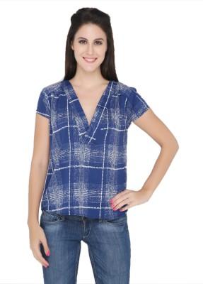 The Beach Company Casual Short Sleeve Geometric Print Women's Blue Top