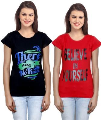 IndiWeaves Casual Short Sleeve Printed Girl's Black, Red Top