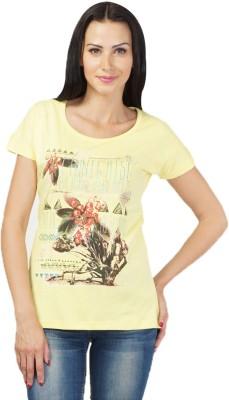 NEENUS Casual Short Sleeve Printed Girl's Yellow Top