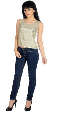 Hugo Chavez Casual Sleeveless Solid Women's Silver Top at flipkart