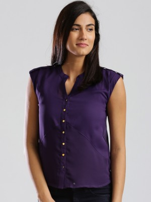 D Muse by DressBerry Casual Cap sleeve Solid Women's Purple Top