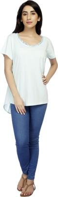 True Fashion Casual Short Sleeve Solid Women's Light Blue Top