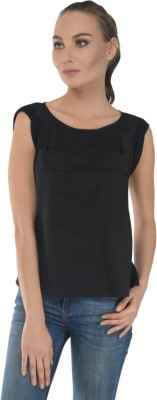 Trend Notes Casual Sleeveless Solid Women's Black Top