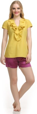 Private Lives Casual Short Sleeve Solid Women's Yellow Top