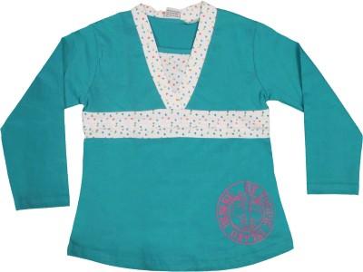 Mankoose Casual Full Sleeve Printed Girl's Green, White Top
