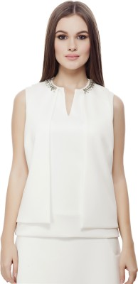 Elegn Casual, Party Sleeveless Solid, Embellished Women's White Top
