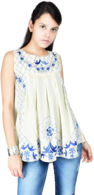 Palette Casual Sleeveless Embroidered Women's White Top