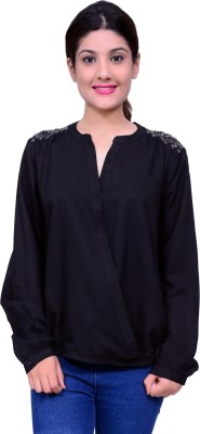 Lamora Casual Full Sleeve Solid Women's Black Top